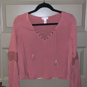 Pinkish red boho tie blouse